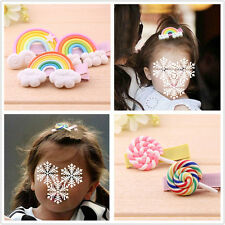 2x Baby Girl Hair Clip Barrette Pin Gum Rainbow Lollipop Colorful Hairpin New
