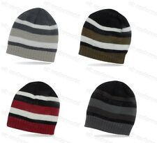 Boys Striped Thinsulate Knitted Beanie Hat Thermal Lined Childrens Winter Warm