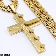 Mens Cross Silver Gold Stainless Steel PENDANT NECKLACE Byzantine Link Chain 6mm