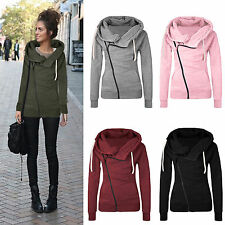 Women Winter Plain Zip Top Hoodie Hooded Sweatshirt Coat Jacket Pullover Sweater