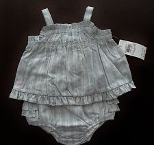 NWT Ralph Lauren Infant Girls Blue Striped Tunic & Bloomers Set 3m 6m 9m NEW $50