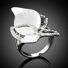 Platinum Plated Silver-tone Finger Ring,Crystal Leaves Size 6-8