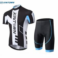 XINTOWN Summer Breathable Bike Cycling Short Sleeve Jersey (Bib) Shorts Set Blue
