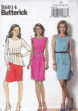 Butterick Easy Sewing Pattern Misses' Pullover Dress Peplum Pants 6 - 22 B6014