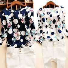 Korean Women Lady Polka Dot Floral Casual Office  Long Sleeve O-Neck Top ED