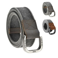 Mens Boys Cotton Canvas Belt Double D Ring Metal Buckle Leather Waistband