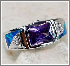 Amethyst & Australian Opal Inlay White Topaz 925 Solid Sterling Silver Ring Sz 8