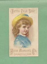 Lovely GIRL On L. I. Fisk & Co. SOAP Victorian Trade Card--SPRINGFIELD, MA