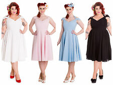Hell Bunny Eveline Dress Bardot Retro Pin Up Rockabilly Vintage Cocktail Party