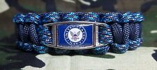 CUSTOM U.S. Navy BLUE DIGITAL CAMO 550 Paracord SURVIVAL Bracelet w/ Buckle