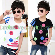 Fashion Kids Toddlers Boys Girls Striped Dot Smile Face Cotton Tops T-Shirt New