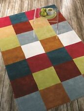 UK Stunning Vibrant Multi Coloured Checked Square Pattern Thick 100% Cotton Rugs