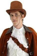 Gentlemans Brown Coachman Top Hat Steampunk Victorian Costume Derby 1800s Dicken