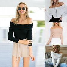 Fashion Sexy Women Off Shoulder Casual Long Sleeve Shirt Knitwear Tops Blouse