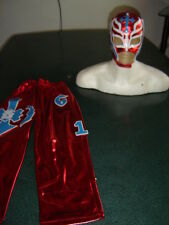 REY MYSTERIO RED KIDS SUIT 6-10 year LYCRA rojo FANCY DRESS COSTUME OUTFIT