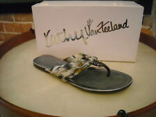 Kathy Van Zeeland Aaron Gray Cheetah Jeweled Thong Sandal NEW