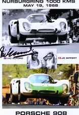 PORSCHE 908 NURBURGRING 1968 SIFFERT ELFORD SIGNED VICTORY POSTER ELFORD signed