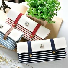 Student Pen Bag Girls Boys Striped Sailor Vintage Pencil Case Large Capacity