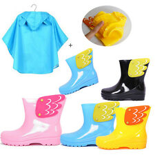 Angel Wings Girls Boys Kids Toddler PVC Water Sports Rain Boots Shoe Cape Poncho