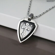 Mens Stainless Steel Chain Necklace Silver Black Crystal Shield Cross Pendant