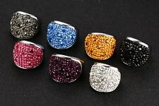 Multi Colors Stunning CZ Crystal Rings Stainless Steel Wedding Band Size6-10