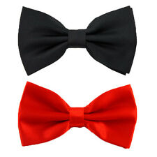 Men's Bow Tie Pure Plain Bowtie Gents Pre Tied Tuxedo Wedding Gentleman Adult