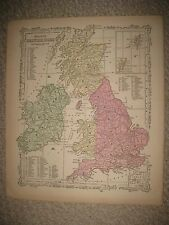 FINE ANTIQUE 1864 BRITISH ISLES ENGLAND IRELAND WALES SCOTLAND BRITAIN HDCLR MAP
