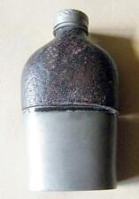 Victorian pewter and leather  hipflask