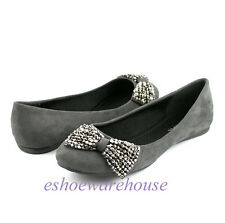 Gray Faux Suede Beaded Bow Accent Awesome Cutie Round Toe Ballet Flats