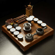 High quality Chinese tea set wenge wood tea tray solid wood table zisha pot cups