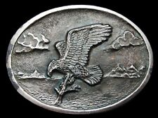 KJ09107 VINTAGE 1974 **BALD EAGLE LANDING ON BRANCH** SILVERTONE BELT BUCKLE