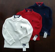NWT Ralph Lauren Boys LS French Rib Half Zip Pullover Sweater 4/4t NEW $55
