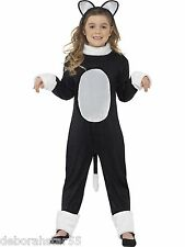 Girls Kids Black and White Cat Halloween Fancy Dress Costume Age 4-12 years