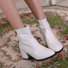 Black/White Women's Block Med Heels Pull On Ankle Boots Snakeskin Cowboy Boots