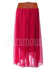 Plain Long Belted Boho Chiffon Maxi Skirt  Womens Size