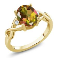 1.85 Ct Oval Mango Mystic Topaz White Topaz 14K Yellow Gold Ring