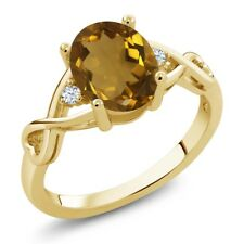 1.45 Ct Oval Whiskey Quartz White Topaz 14K Yellow Gold Ring