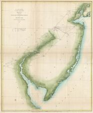 1851 U.S. Coast Survey Map of New Jersey and the Delaware Bay