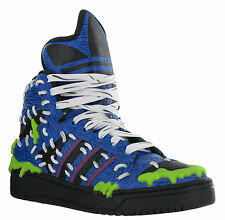 Adidas Jeremy Scott Mad Logo Leather Hi-top Baseball Fashion Boots Trainers