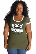 DEALZONE Good Enough For You Babe Print Top 2X Women Plus Size Green Casual
