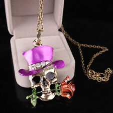 Brand New Unisex Décor Gifts Skull Flower Necklace Pendent Jewelry Silver Plated