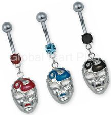 Belly Button Ring Navel Piercing Mardi Gras Face Mask Dangling 316L Surgical 14g