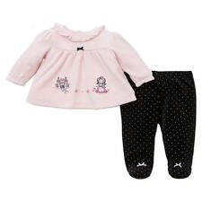 Little Me Girls 2 Piece Pink Tunic Top & Black Polka Dot Printed Footed Pant