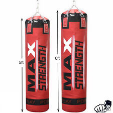 Unfilled 5ft / 6ft Boxing Punch Bag Kick Gym Fight Training MMA Martial Arts