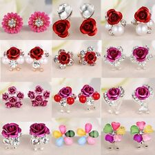 Fashion Flower Women Lady Girls Crystal Rhinestone Ear Stud Earrings Xmas Gift