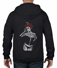 Black Crow Sugar Skull Girl Full Zip Hoodie - Day Of The Dead Tattoo Burlesque