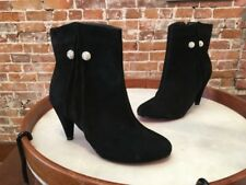 TWIGGY London BLACK Suede Jewel Button Ankle Boots NEW