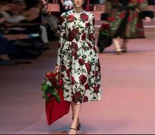 Italy 16 New Runway Hot Sale Fashion Rose Printing Europe Women Party Dress 2-6