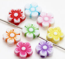 New 50/100pcs Acrylic Flower/Heart Loose Spacer Beads Charm Jewelry Finding DIY