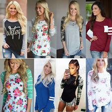 Womens Long Sleeve T Shirt Round Neck Splice Floral Shirt Blouse Tops Pullover